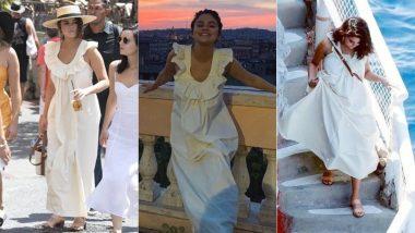 Cop or Drop: Selena Gomez In A Beige Maxi Dress During her Italian Rendezvous