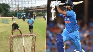 Shikhar Dhawan Toiling Hard for India's Tour of West Indies 2019, Indian Opener Works on His Reflexes During Practice (Watch Video)