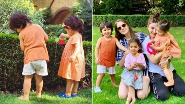 Taimur Ali Khan and Inaaya Naumi Kemmu's London Diaries: See the Two Munchkins Water Plants in Adorable Colour Coordinated Outfits in these Latest Pictures