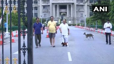 Karnataka Trust Vote Today: BJP Legislators on Overnight 'Dharna' at Vidhana Soudha, Out on Morning Walk; Watch Video