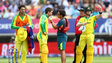 Alex Carey Hit on Chin by Jofra Archer, Wicket-Keeper Batsman Bleeds But Continues to Bat During AUS vs ENG CWC 2019 Semi-Final 2 (Watch Video)
