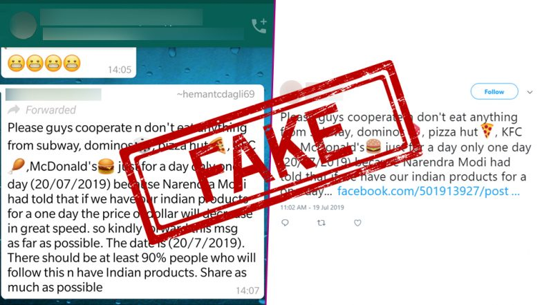 Fact Check: Not Buying From Dominos, KFC, Pizza Hut and McDonald's Will Make Indian Rupee Stronger Than Dollar? Fake WhatsApp Forward Goes Viral