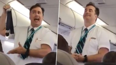Flight Attendant's Dramatic Explanation of Safety Instructions Goes Viral (Watch Funny Video)