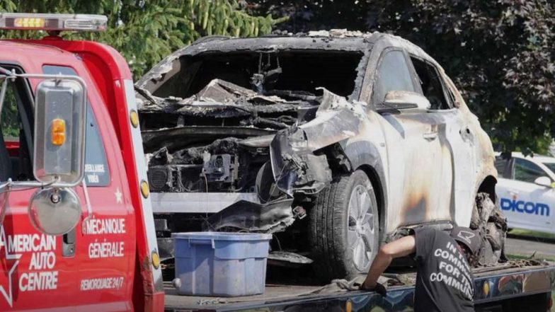 Hyundai Kona Electric SUV Catches Fire; Explodes To Blow Off Garage Door in Canada