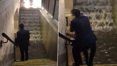 Video of Suited Man Piggyback off a Woman in Flooded New Jersey Train Station Goes Viral! Check Funny Reactions