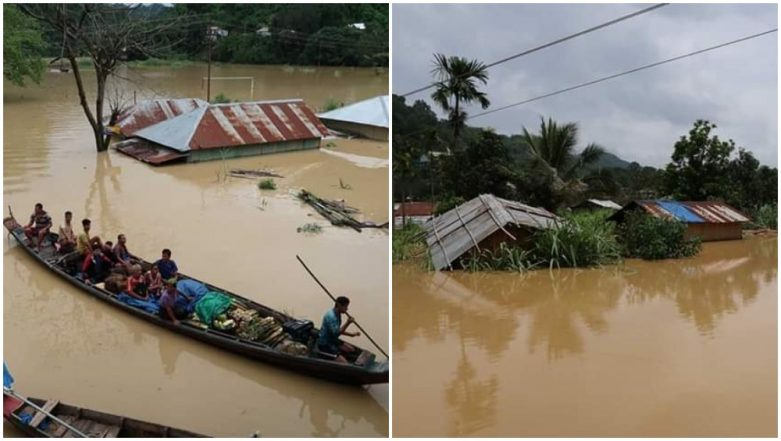 Mizoram Rains: Heavy Rainfall Cripples Normal Life, Nearly 300 Houses Vacated After Flood-Like Situations in Tlabung Town