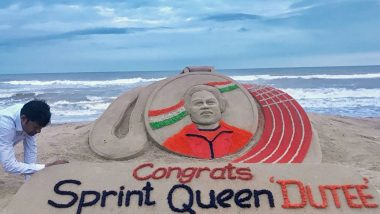 Sudarsan Pattnaik Dedicates Sand Art to Dutee Chand For Winning Gold Medal in 100m at World University Games 2019, View Pic