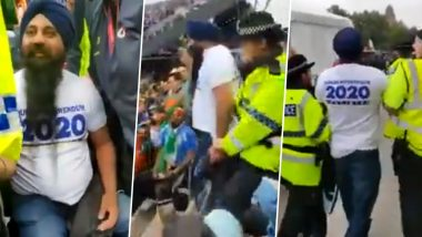 India vs New Zealand, CWC19 Semi Final Match: Pro-Khalistan Sikh Protesters Shouting Anti-India Slogans Evicted From Old Trafford Stadium; Watch Video