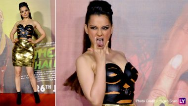 Kangana Ranaut Makes Heads Turn With Her Edgy Leather-Strapped Outfit and Glam Hairdo at the Judgemental Hai Kya Trailer Launch (View Pics)