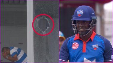 Rodrigo Thomas, Canada Batsman, Breaks Window With a Six During GT20 2019 Match (Watch Video)