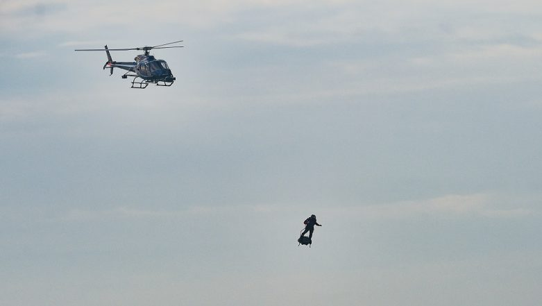 Frenchman Franky Zapata Takes Off on 'Flyboard' for Second Attempt To Cross English Channel