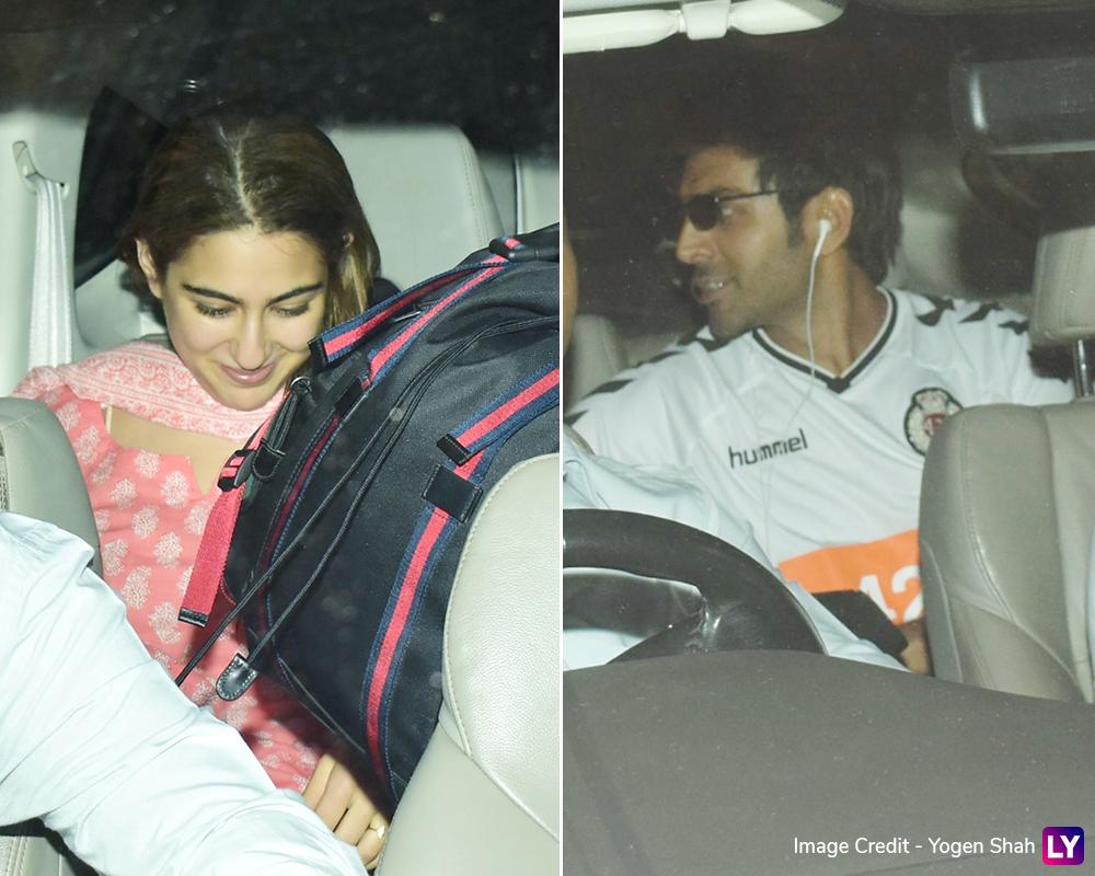 Sara Ali Khan receives alleged boyfriend Kartik Aaryan at the airport.