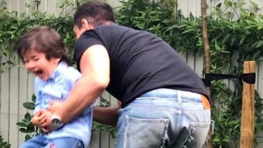 Taimur Ali Khan Laughs His Heart Out as Dad Saif Ali Khan Lifts Him Off the Ground in This Adorable Picture and We Can't Stop Gushing Over It!