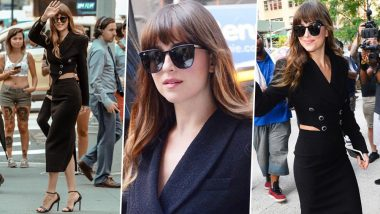 Yo or Hell No! Dakota Johnson Poses in Black Alessandra Rich Dress During The Peanut Butter Falcon Promotions