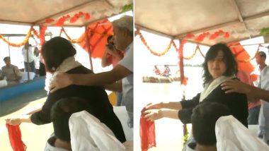 Bansuri Swaraj, Daughter of Sushma Swaraj, Immerses Her Mother's Ashes in Ganga River in Hapur, Watch Video