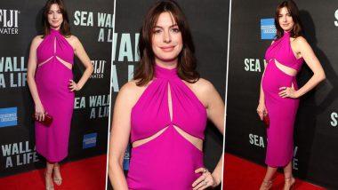Yo or Hell No! Anne Hathaway Flaunts her Baby Bump in Fuschia Pink Brandon Maxwell Dress