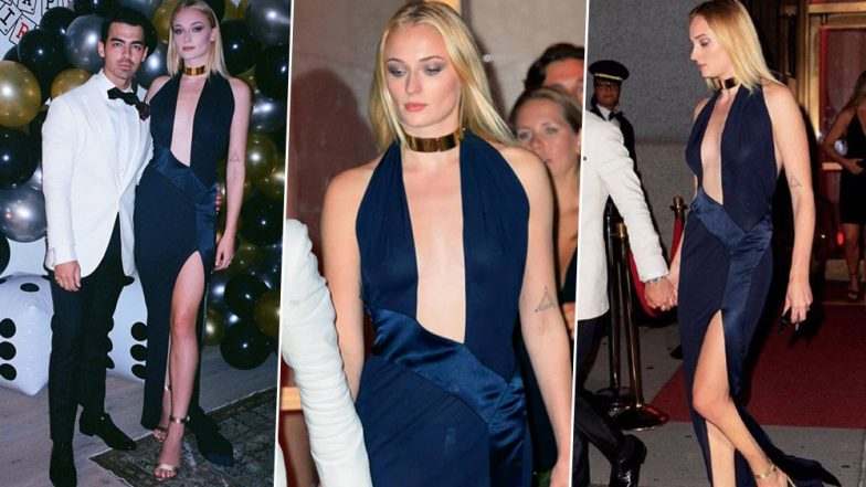 Yo or Hell No! Sophie Turner Picks a Black Deep Cut Neckline Gown by Alexandre Vauthier for Joe Jonas' Birthday Bash
