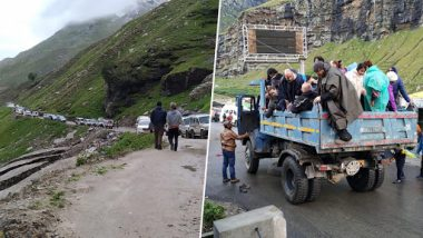 Himachal Pradesh Rains: 400 Tourists Stuck Between Keylong & Sissu Areas of Lahaul-Spiti District Due to Landslides; 150 People Rescued