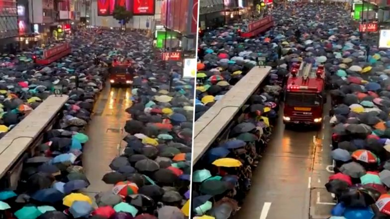 Hong Kong Protesters Pave Way for Fire Tenders In a Viral Video; Impressed Twitter Asks Beijing: 'How Are They Rioters?