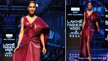 LFW Winter/Festive 2019: Pregnant Lisa Haydon Glows in a Pink Saree as Amit Aggarwal's Showstopper at Lakme Fashion Week (View Pics)