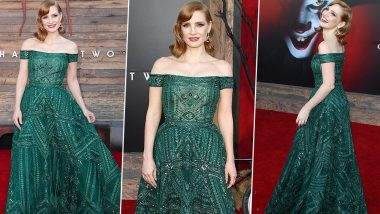 Yo or Hell No! Jessica Chastain in an Emerald Green Zuhair Murad Gown for IT Chapter 2 Premiere
