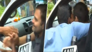 Rahul Gandhi Gets Kissed by a Man During His Visit to Wayanad in Kerala; Watch Video