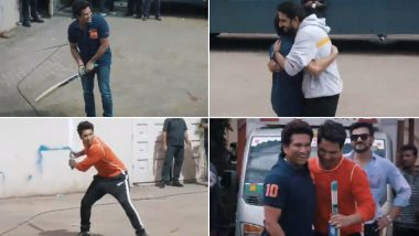 Fit India Movement: Varun Dhawan and Abhishek Bachchan Play Gully Cricket with Sachin Tendulkar and We Are So Jealous (Watch Video)