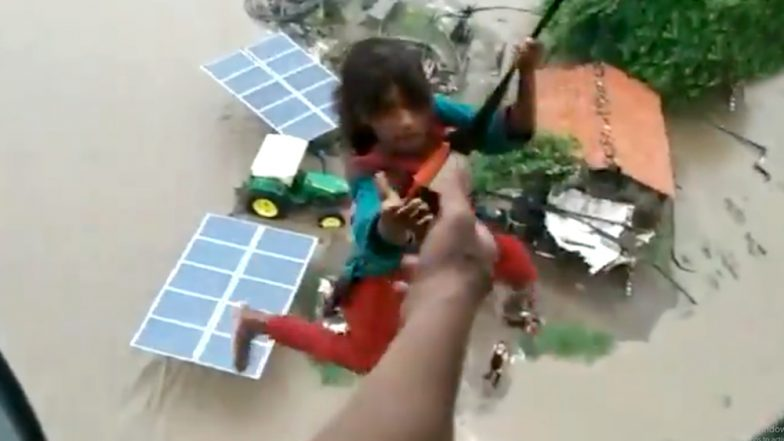 Gujarat Flood Situation Remains Grim, IAF Rescues Girl in Flood Affected Jamnagar; Watch Video