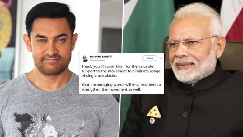 PM Narendra Modi Thanks Aamir Khan for Extending His Support to the Single-Use Plastic Ban Initiative  - Read Tweet