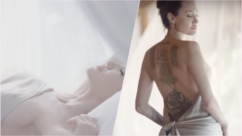 Angelina Jolie Strips Down, Flaunts Tattoos for New Mon Guerlain Campaign Commercial