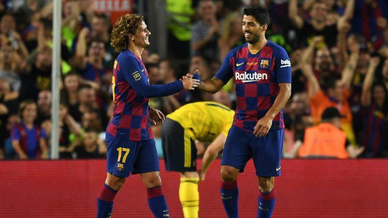 Antoine Griezmann's First Goal For Barcelona and Luis Suarez's Brace Help La Liga Giants Beat Napoli 4-0 in Club Friendlies