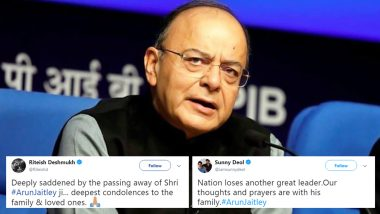 Arun Jaitley Demise: Anil Kapoor, Riteish Deshmukh and Other Bollywood Celebs Mourn Former Finance Minister's Death