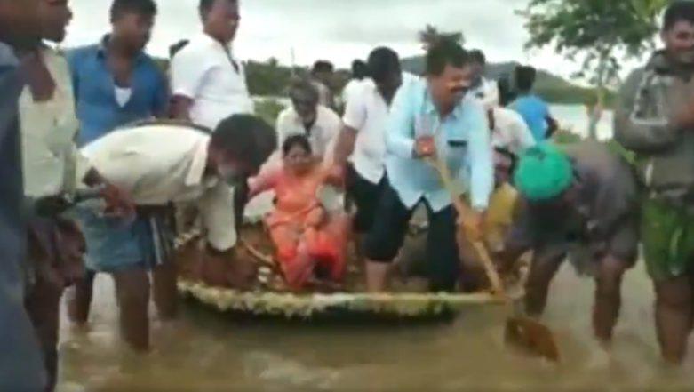BJP MLA, MP Renukacharya Rows Agarala Boat Steered by Locals Through Ankle-Length Floodwaters in Karnataka to 'Rescue People', Gets Trolled on Social Media