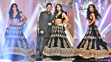 Lakme Fashion Week 2019: Katrina Kaif Looks Enchanting in a Black Ensemble as She Walks the Ramp for Manish Malhotra's Opening Show at LFW Winter/Festive Edition (View Pics)