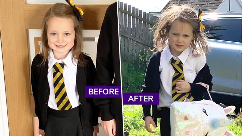 Scotland Mother Shares Hilarious Before And After Pics of Daughter's First Day at School And the Internet Can't Stop Laughing!