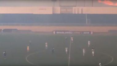 Amazon Rainforest Fires Interrupt Brazilian League Football Game, Watch Shocking Video as Smoke Fills Rio Branco Stadium