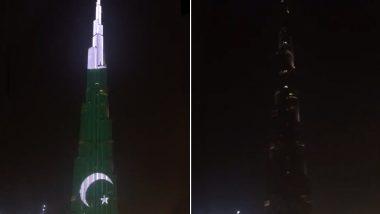 Burj Khalifa Displays Pakistani Flag Upside Down, Twitterati Calls It a Sign of Distress in Pakistan; Watch Video
