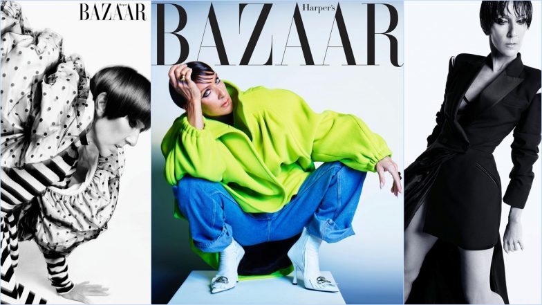 Celine Dion Dons Neon-Green Tuxedo Jacket and Rocks Pixie Cut on Harper's Bazaar US Cover (View Pictures)