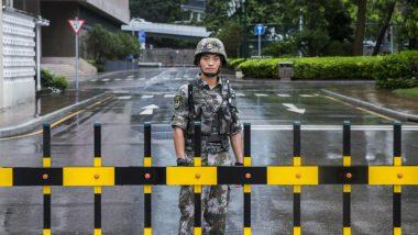 Chinese Military Personnel Parade Near Hong Kong Border
