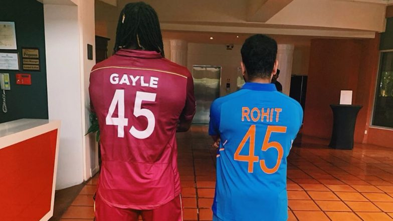 Rohit Sharma and Chris Gayle Flaunt Their Jersey Number '45' Ahead of India vs West Indies 1st ODI 2019! View Pic