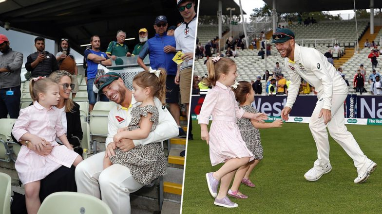 David Warner's Wife, Daughters Join Victory Celebrations at Edgbaston Stadium After Australia Defeat England in Ashes 2019 1st Test (See Pics)