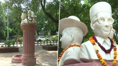 ABVP Erects Statues of VD Savarkar, Subhas Chandra Bose, Bhagat Singh at Delhi University North Campus Overnight