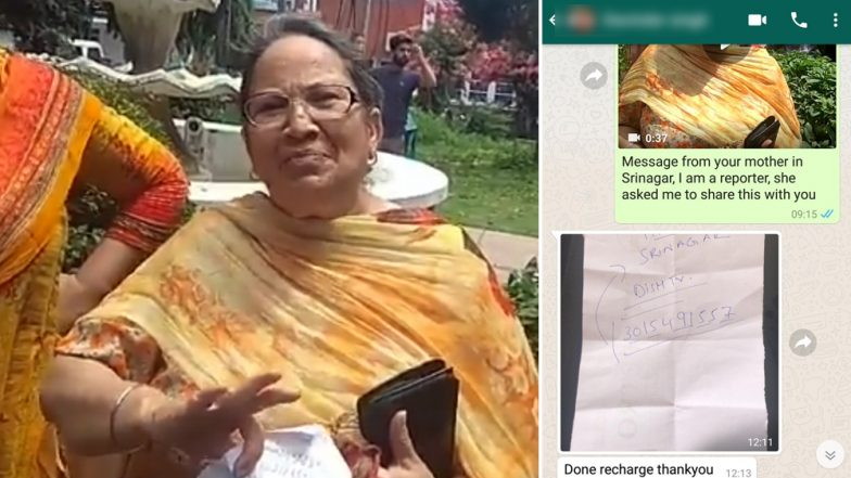 Recharge Dish So We Can Watch TV: Video of Srinagar Woman Sending Message To Her Son Through a Journalist Post Article 370 Revocation is Heartwarming