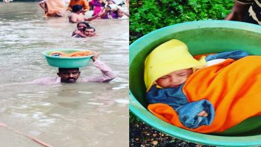 Gujarat Cop Wades Through Flooded Street to Save 45-Day-Old Baby in Vadodara; Watch Video