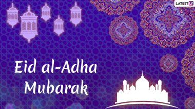 Eid al-Adha Mubarak Images and HD Wallpapers For Free Download Online: Wish Happy Bakrid 2019 With Shayari, WhatsApp Sticker Messages & GIF Greetings