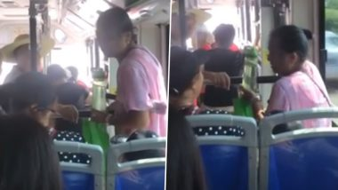 Elderly Woman in China Sits on Young Boy's Lap in Bus After He Refuses to Get Up (Watch Viral Video)