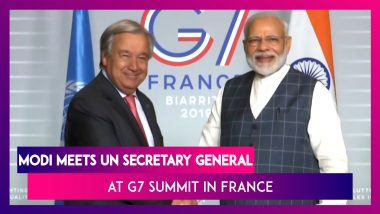 G7 Summit: PM Narendra Modi Meets UN Secretary General Antonia Guterres In France