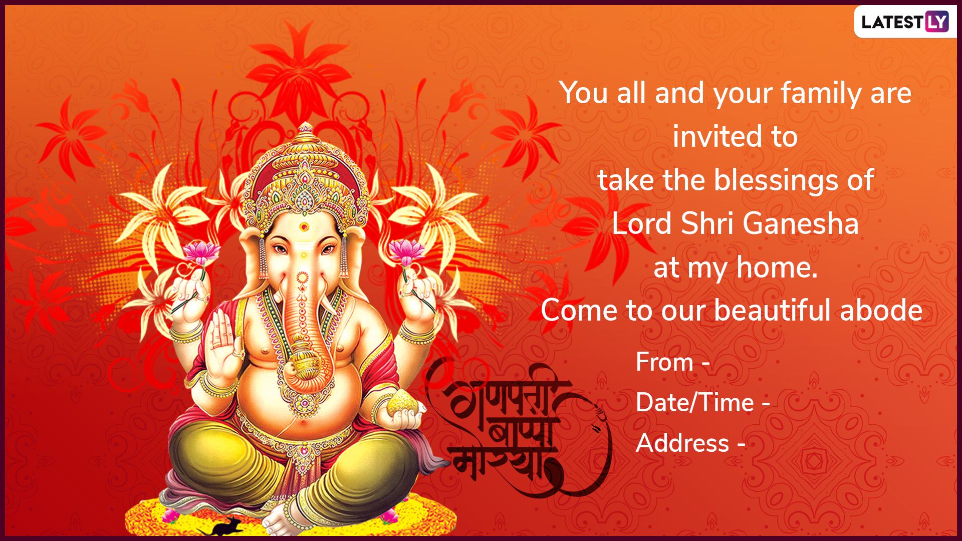 Ganesh Chaturthi 5 Invitation Cards Format: WhatsApp Messages