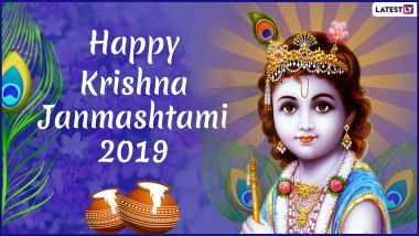 Janmashtami 2019 Wishes in Hindi: WhatsApp Stickers, GIF Images, SMS, Gokulashtami Greetings and Messages to Share on Lord Krishna's Birthday