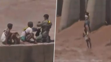 Jammu: IAF Saves Two Men in Daring Rescue Operation After They Got Stranded in Overflowing Tawi River, Watch Video